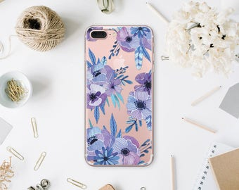 Skull Case Clear iPhone 7 Cover Floral iPhone 7 Plus Case 6s Plus iPhone X Case For Galaxy S7 Clear Case Samsung S6 Case iPhone 6S WA1133