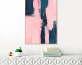 Pink and Navy Abstract Art, Modern Downloadable Print, Pink Painting, Large A1 Size Wall Art, Printable Art, Extra Large Wall Art