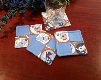 Fabric Coasters, Coaster Gift, Stemware Coasters, Wine Glass Coasters, Criss Cross Coasters, Slipper Coasters, Dog Coasters, Dog Lover Gift