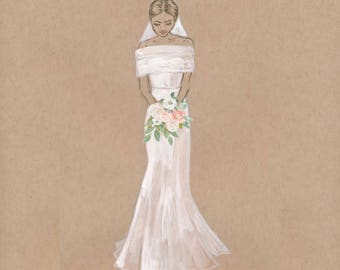 Custom Bridal Portrait, Perfect for Gifts, Weddings, Anniversaries