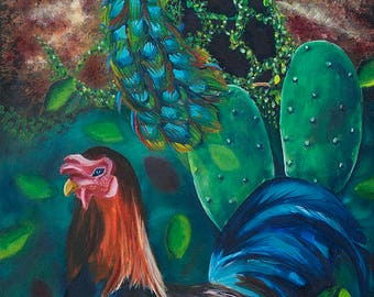 "14.5x36"" painting print peacock, rooster, cactus, India treehouse windmill, dream, blue green night, original, Irish, Auroville birds nature"