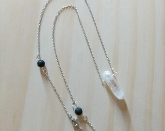 Crystal Point with LAVA Diffuser Necklace