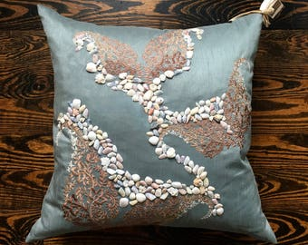 "Seashore Breezes- by Lynn Cegelski, An original 15"" x 15"" hand decorated pillow with seashells"