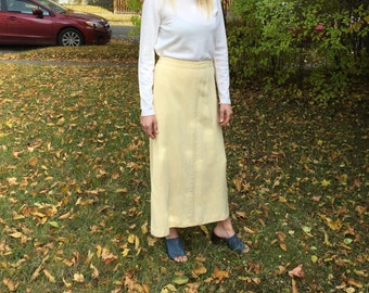 Dandelion Silk Maxi Skirt // 100% Matte Silk Ankle Length Skirt // Pastel Yellow Silk Maxi Skirt