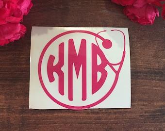Stethoscope Monogram Vinyl Sticker