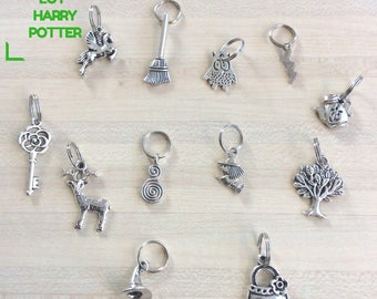 Set of 12 stitch markers for knitting - special Harry Potter