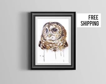 Owl, Owl Print, Woodland Decor, Nursery Art, Nursery Decor, Owl Watercolor Print, Owl Decor