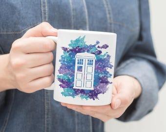 Doctor Who Tardis Outline Galaxy Mug, Doctor Who Tardis Mug, Tardis Mug, Doctor Who Mug