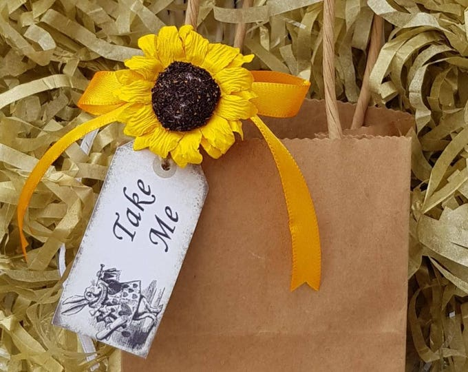 12 Brown favour bags with sunflower gift tag baby shower weddings party bags