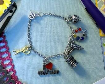 I Love Crafting Charm Bracelet, Silver Charm Bracelet, Womens Charm Bracelet, Crafting Jewelry, Crafting Bracelet, Love of Crafting