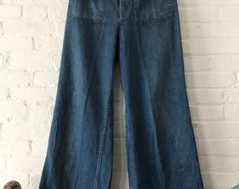 Vintage 1940s Denim sailor navy pants 40s 50s