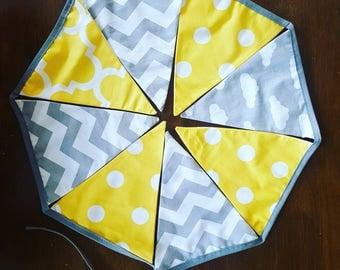 Yellow and grey cotton fabric bunting / nursery room bunting / babys room triangular garland