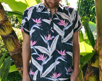 90s Birds of Paradise Aloha Shirt, Cooke Street Hawaiian Shirt, Tropical Skater Button Up, Sz L Fitted