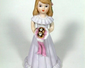 Age 8, Growing Up, Birthday Girls, Vintage Enesco, Birthday Cake Topper, Gift for Girl, Birthday Gift, Girls Room, Pink, Lavender, Brunette