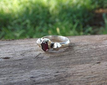 SALE! Sterling silver and garnet ring, size 7