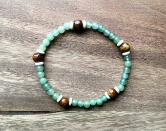 Sea Green Bracelet with Brown Bone Beads