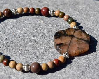 Chiastolite CRUCIFORM And Jasper Healing Bracelet ~ Stretch Bracelets ~Rare Chiastolite Stone Bracelets~