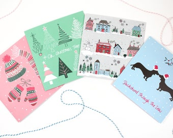 Pack of 4 Christmas Cards, Christmas Cards, Colourful Christmas Cards, Xmas Cards, Christmas Illustration