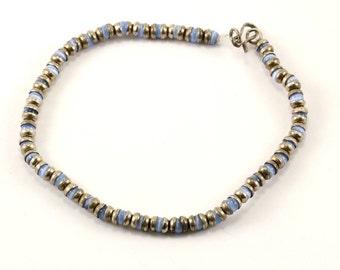 Vintage Cat's Eye Beaded Design Link Bracelet 925 Sterling BR 2237