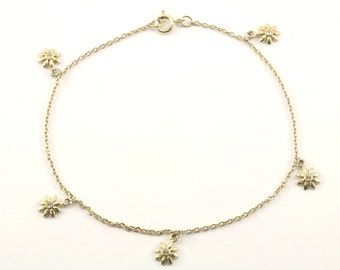 Vintage Flower Charms Chain Ankle Bracelet 925 Sterling BR 2100