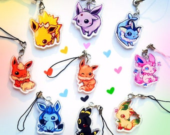 Pokemon Eevee Eeveelution Double Sided 1.5in Acrylic Charms