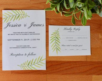 Greenery Wedding  Invitation, Summer Wedding Invitation, Printed Wedding Invitation, WaterColor Leaf, Custom, Wedding Invitations, Printable