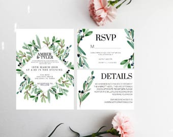 PRINTED Greenery Wedding Invitation, Spring Wedding invitation, Summer Wedding invitations, greenery Wedding, DIY Wedding