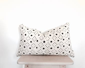African Mudcloth Lumbar Pillow Cover in White - Anya 14x24""