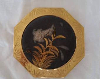 Vintage Damascene Powder Compact