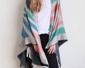 Aztec Blanket Poncho