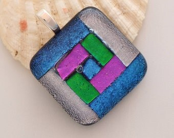 Quilt Square Dichroic Glass Pendant