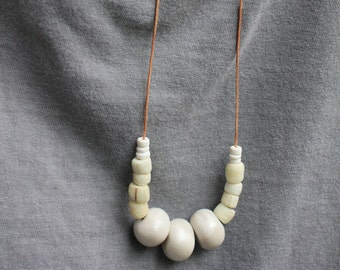 Polymer Clay African Glass Puka Shell Necklace