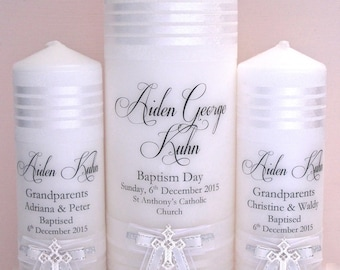Personalised Baptism and Christening Candle Set