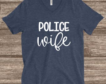 Police Wife Heather Navy Unisex T-shirt - Police Wife Shirt - Police Wife T-shirt - Police Wife Gift - Police Wives Shirts