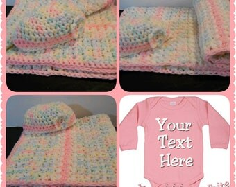 Crocheted Girl Blanket,  Flower Cap and Onesie Set.  Perfect Baby Shower Gift or Coming Home Outfit...Super Adorable
