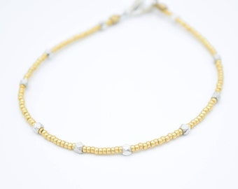 Minimalist Gold and Silver Toned Bracelet 7""