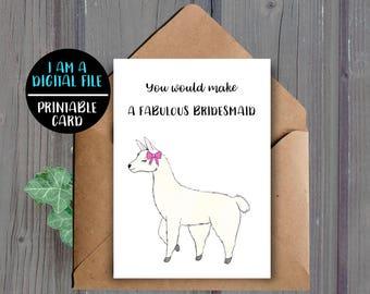 DIGITAL DOWNLOAD, Llama Bridesmaid Card, Printable, Fabulous, Bridesmaid Proposal Card, Will You Be My Bridesmaid, Instant, Cute, Girly