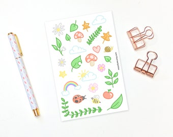 Nature decorative stickers - 27 forest planner stickers, decorative stickers, plant stickers, nature sticker, cute stickers