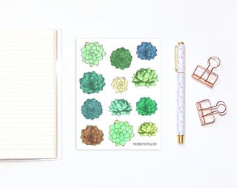 Decorative succulent stickers - 12 succulent stickers for planners and bullet journals, planner stickers, bujo stickers, plant stickers