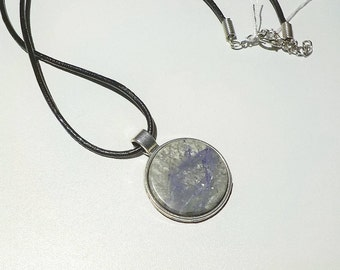 Fluorite in host rock natural stone pendant from Sveio,  West Norway. 25 mm diameter stone. Antique silver metal alloy. Leather necklace.
