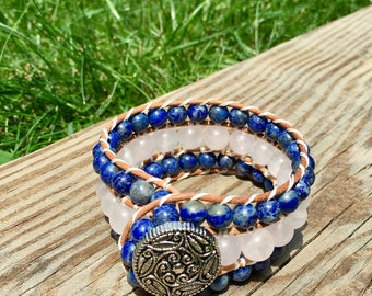 Cuff Bracelet, Beaded Cuff Bracelet, Leather Wrap Bracelet, Beaded Wrap Bracelet, Beaded Bracelet, Leather Wrap, YoungBeadsCrafts