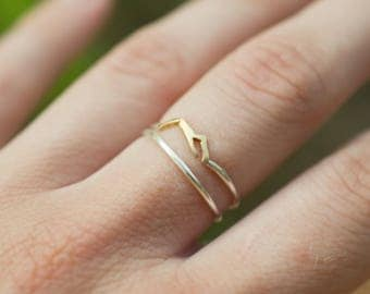 Set of 2 rings, a Mountain sterling silver ring with brass and a 1 mm skinny stacking ring, heights silver ring