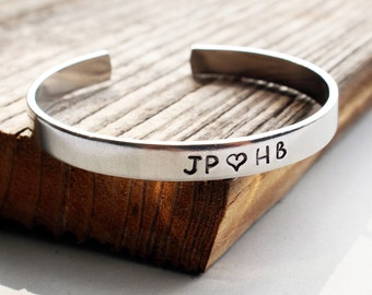 Customized relationship initials bracelet Personalized love relationship bracelet Personalized hand stamped cuff
