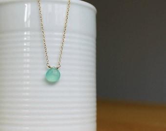 Aqua Chalcedony Necklace - Gold Minimalist Jewelry