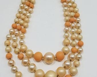 Fun Pale Peach and White Triple Strand Necklace from Japan