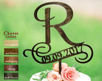 Letter r cake topper, rustic cake toppers for wedding, date cake topper, Wood Cake Topper, cake topper r, custom cake topper date, CT#106