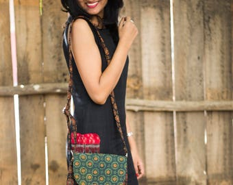 Black and Green Ajrakh Sling bag