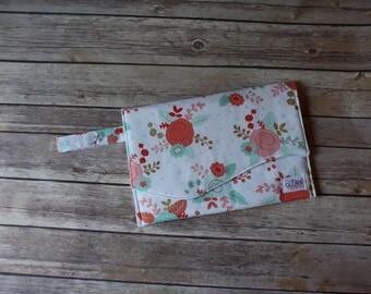 Floral Diaper Clutch   Nappy Clutch   Diaper Wristlet   Diaper Bag Organizer