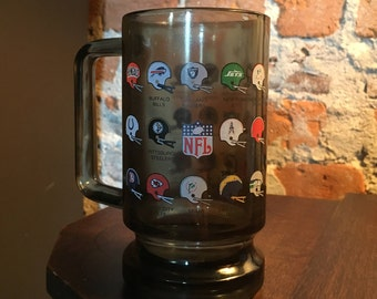 Vintage 1970s NFL Smoke Glass Mug