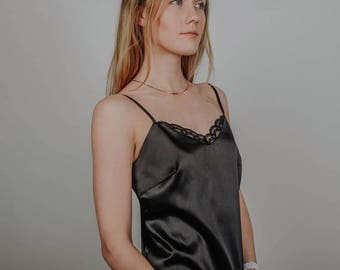Satin blouse top with lace. Black color.